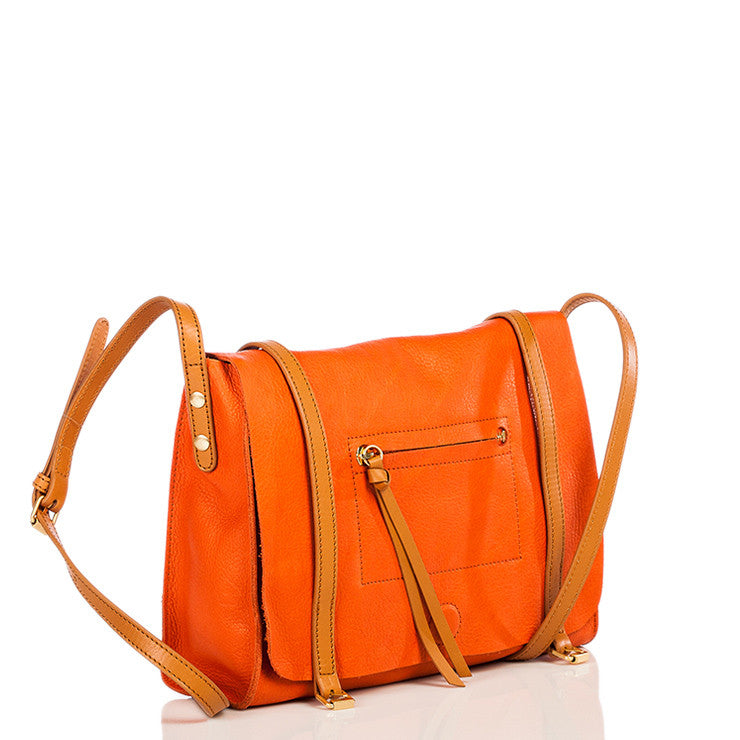 Linea Pelle Hunter Messenger Bag in Orange Poppy