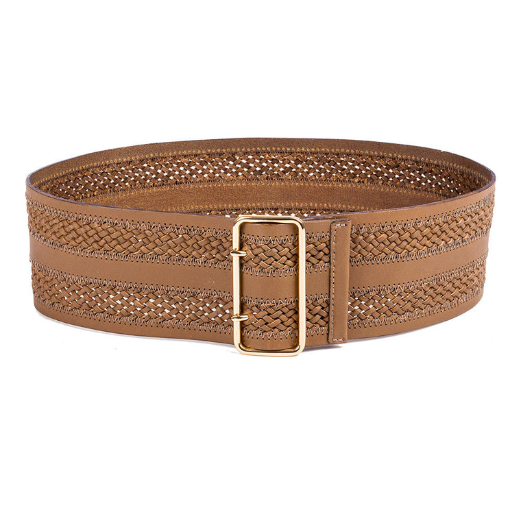 Linea Pelle Inset Braid Wide Waist Belt in Cognac