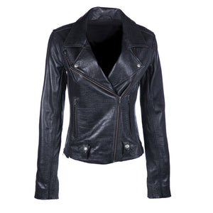 James Croc Embossed Leather Jacket