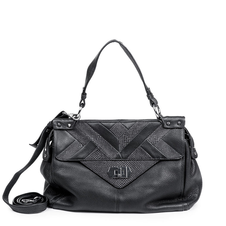 Linea Pelle Layla Satchel in Black