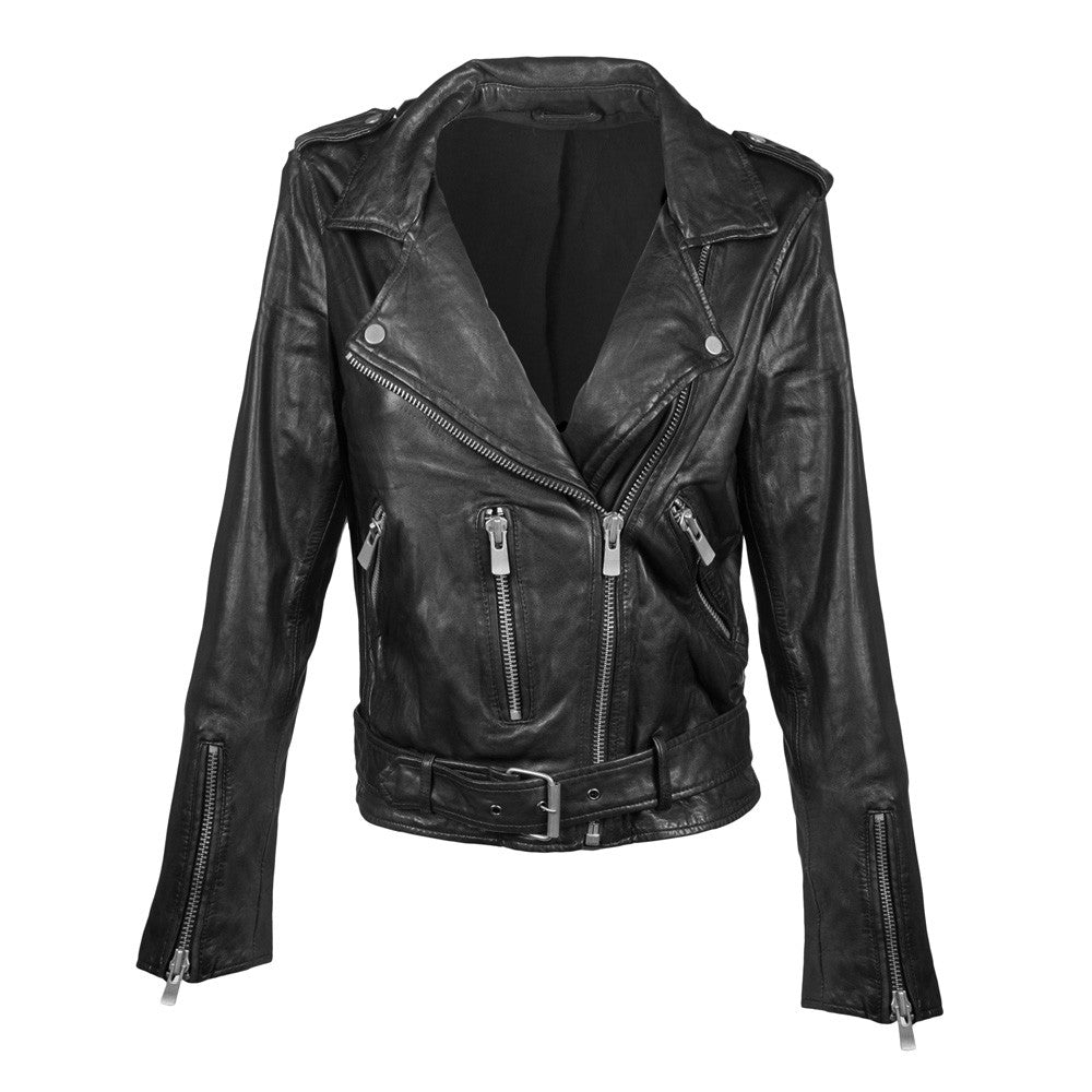 Linea Pelle Crop Moto Leather Jacket in Black