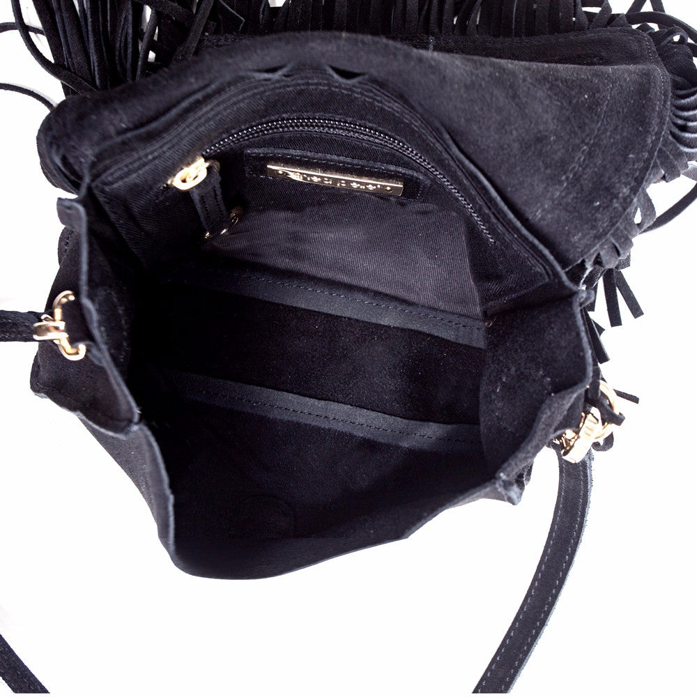 Linea Pelle Fringe Crossbody in Black