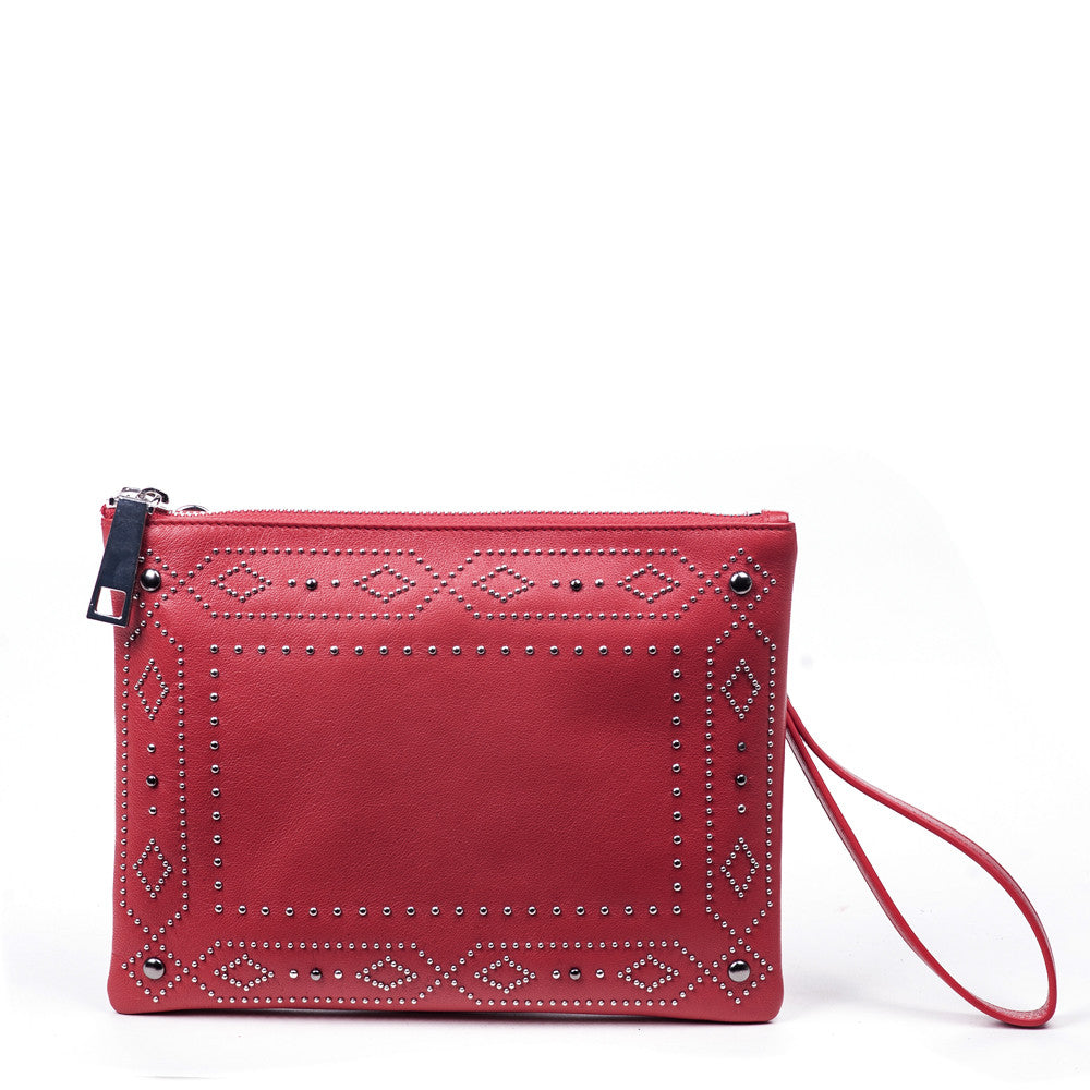 Linea Pelle Colette Western Stud Pouch in Red