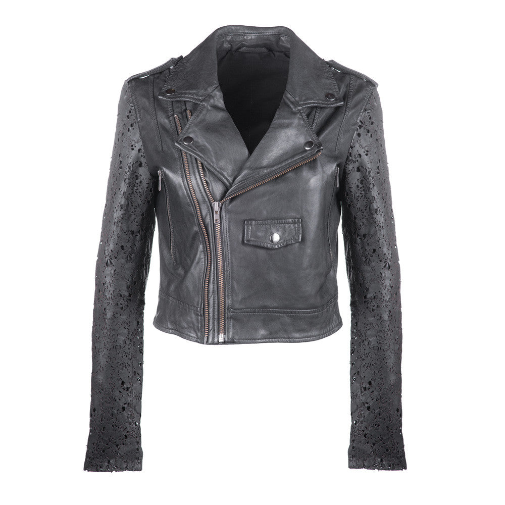 Crop Leather Jacket with Laser Cut Sleeves
