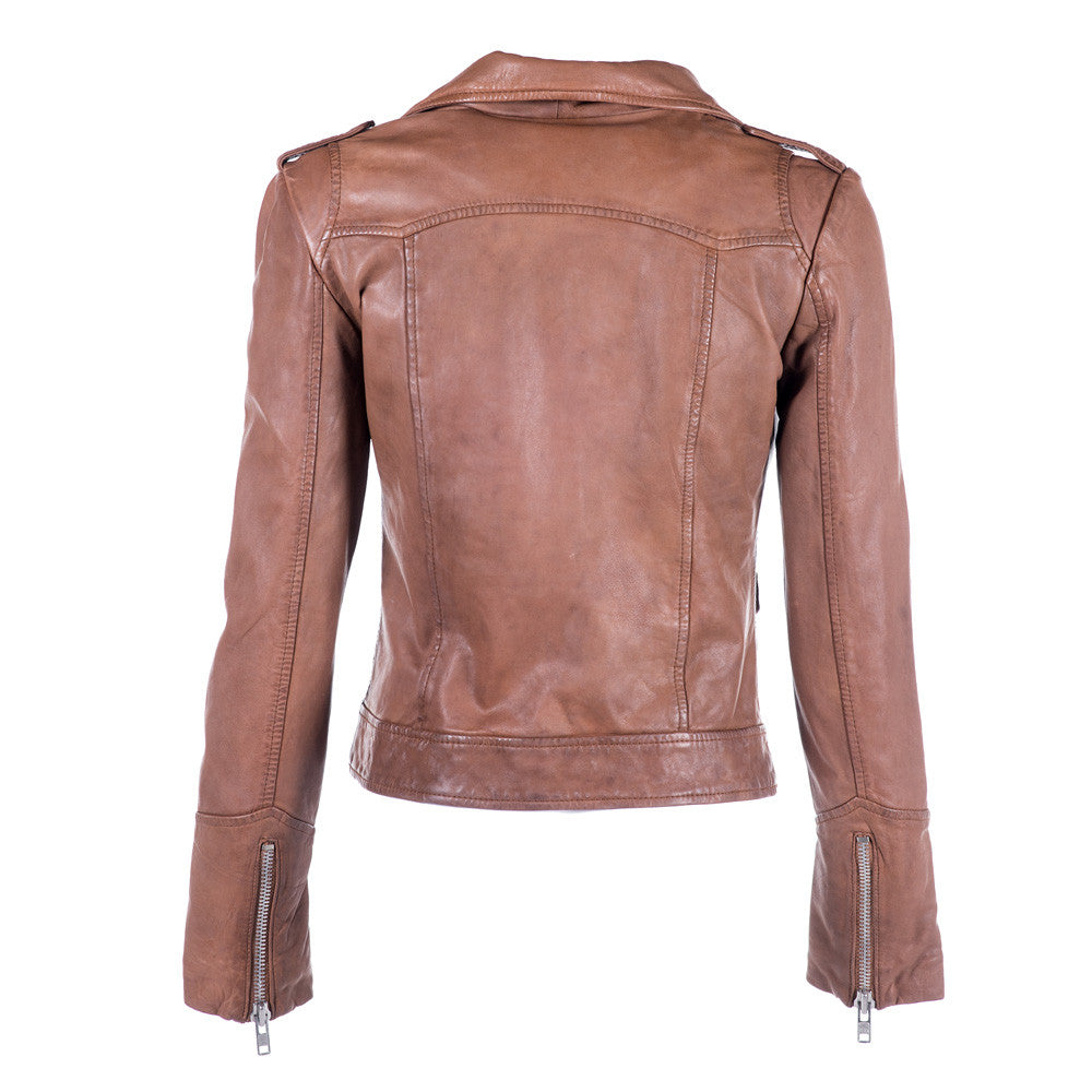 Linea Pelle Fitted Leather Jacket in Spice