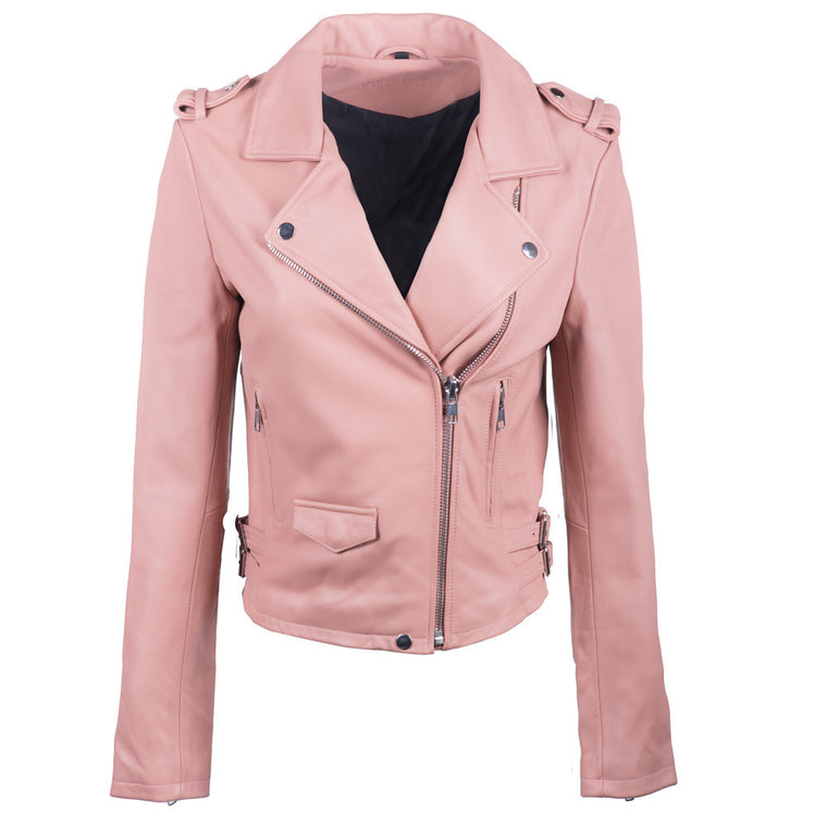 Linea Pelle Axel Leather Jacket in Rose