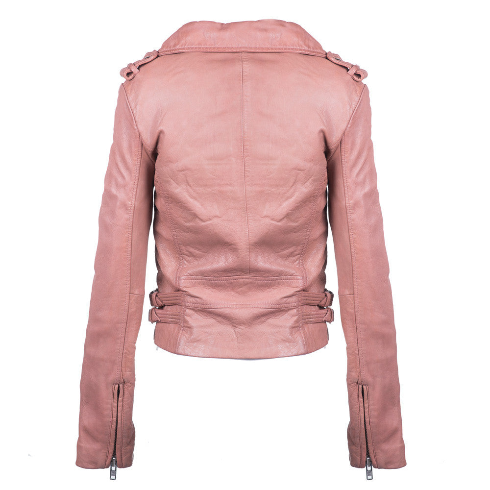 Linea Pelle Washed Axel Leather Jacket in Rose