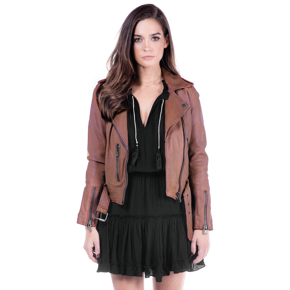 Linea Pelle Moto Crop Leather Jacket in Spice