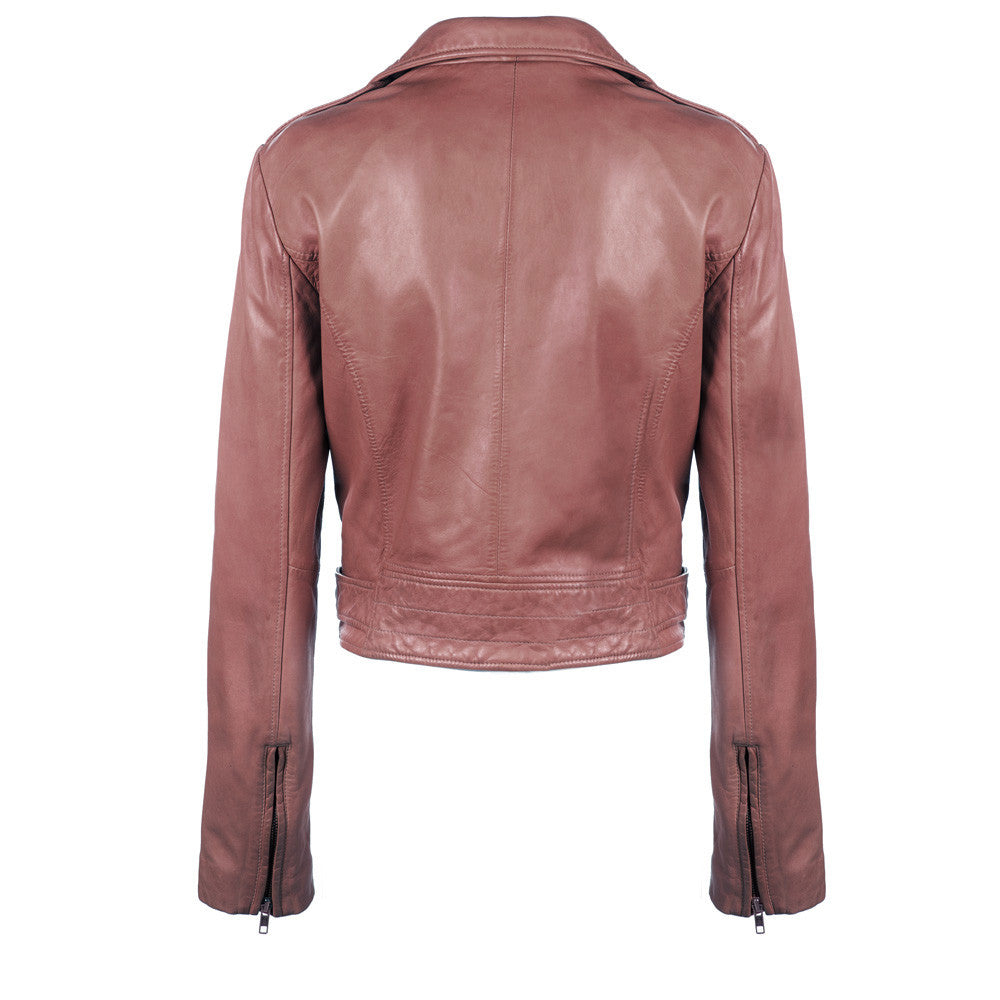 Linea Pelle Washed Ryder Leather Jacket in Spice