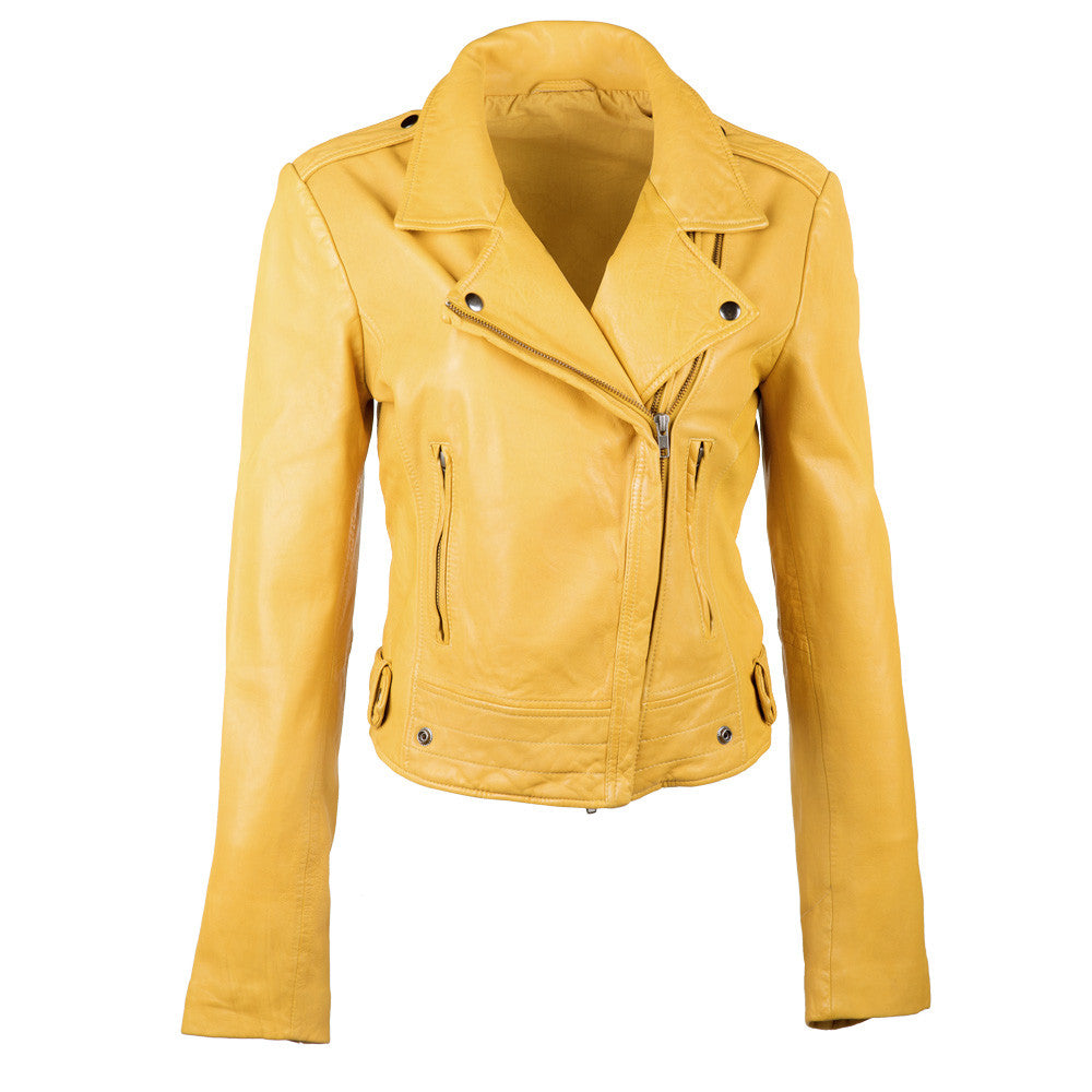Linea Pelle Ryder Leather Jacket in Mustard
