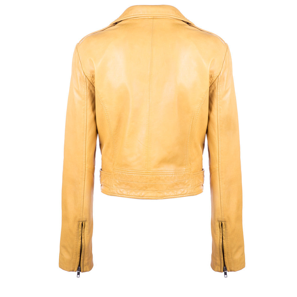Linea Pelle Moto Leather Jacket in Mustard