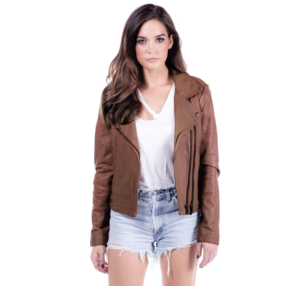 Linea Pelle Ryder Leather Jacket in Spice