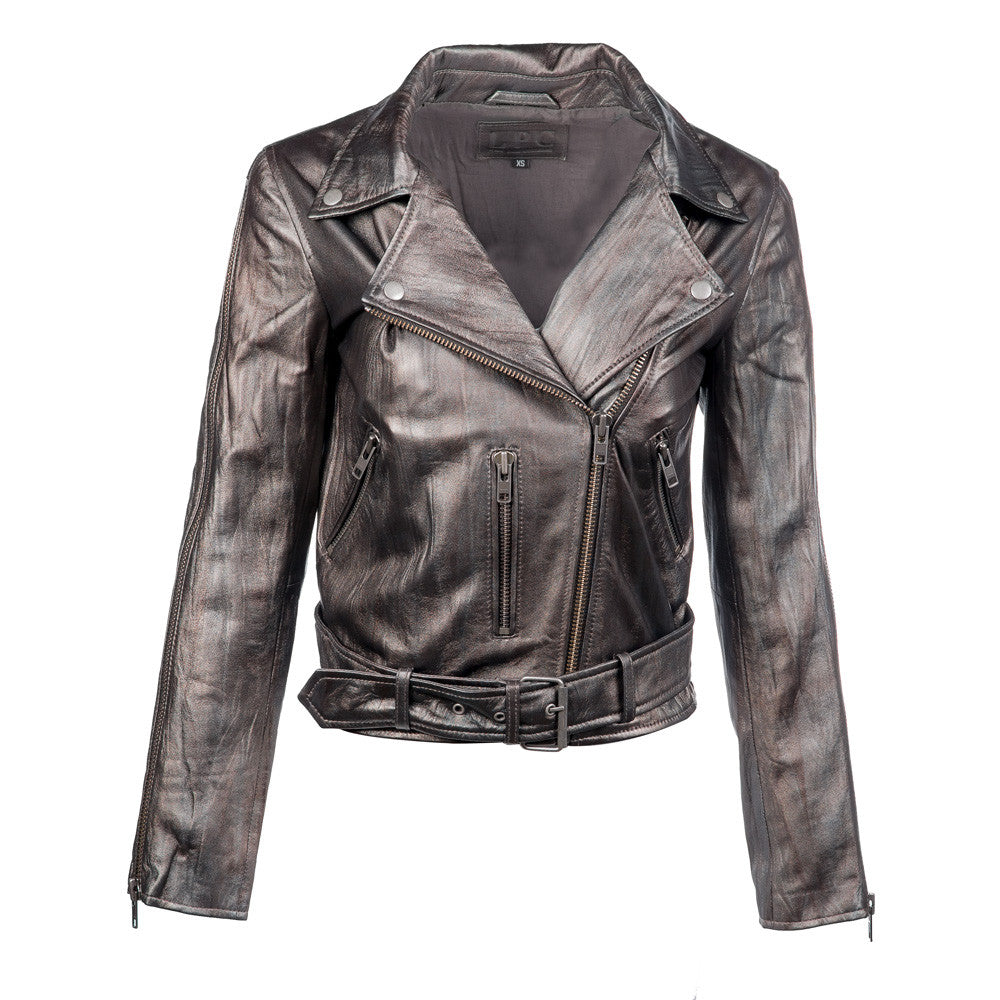 Cameron Metallic Crop Leather Jacket