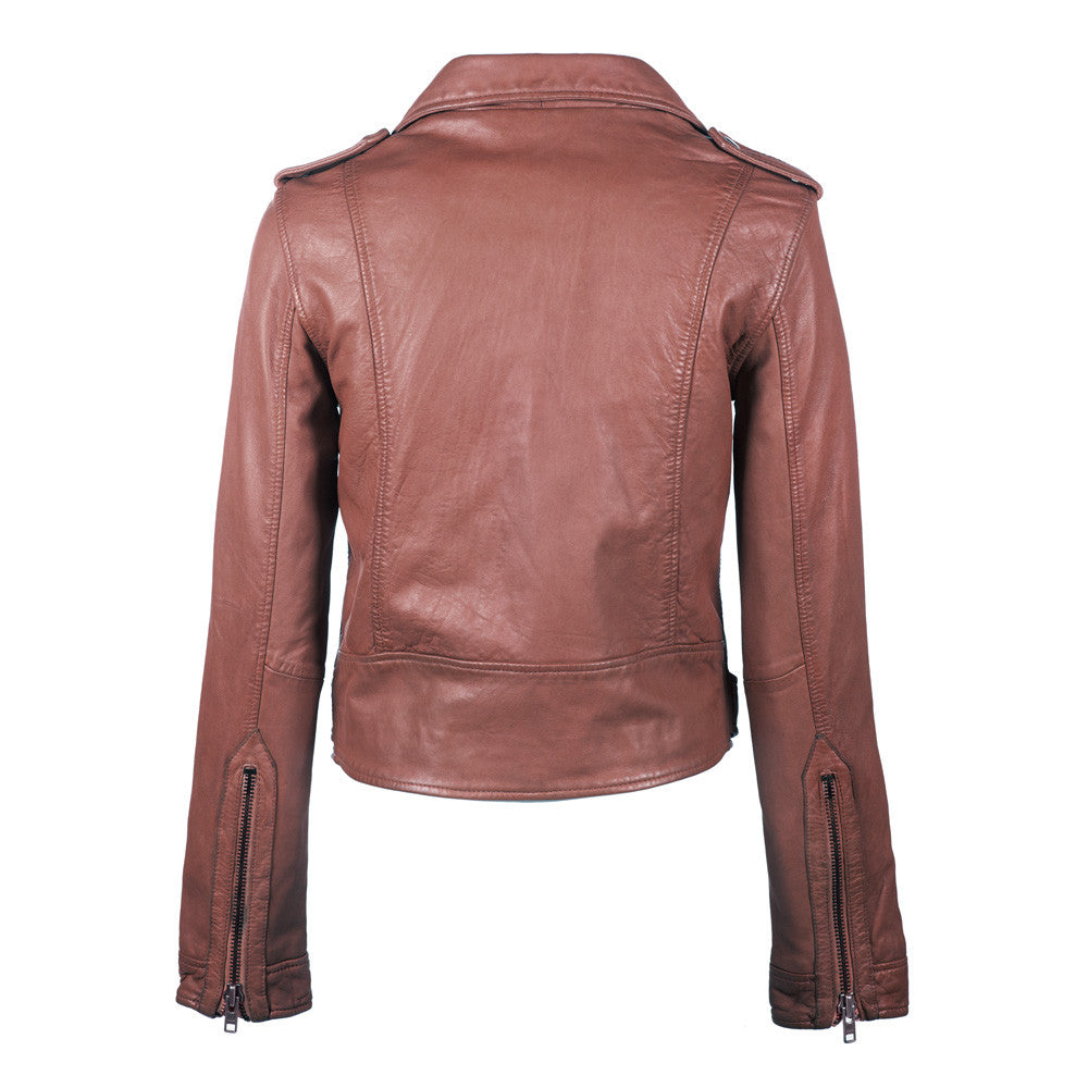 Linea Pelle Washed Moto Leather Jacket in Spice