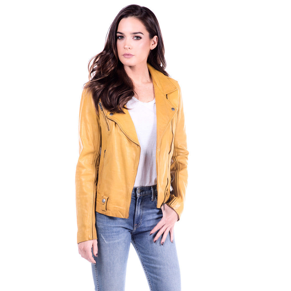 Linea Pelle James Fitted Leather Jacket in Mustard