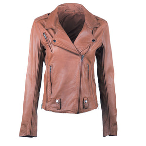 Linea Pelle James Fitted Leather Jacket in Spice