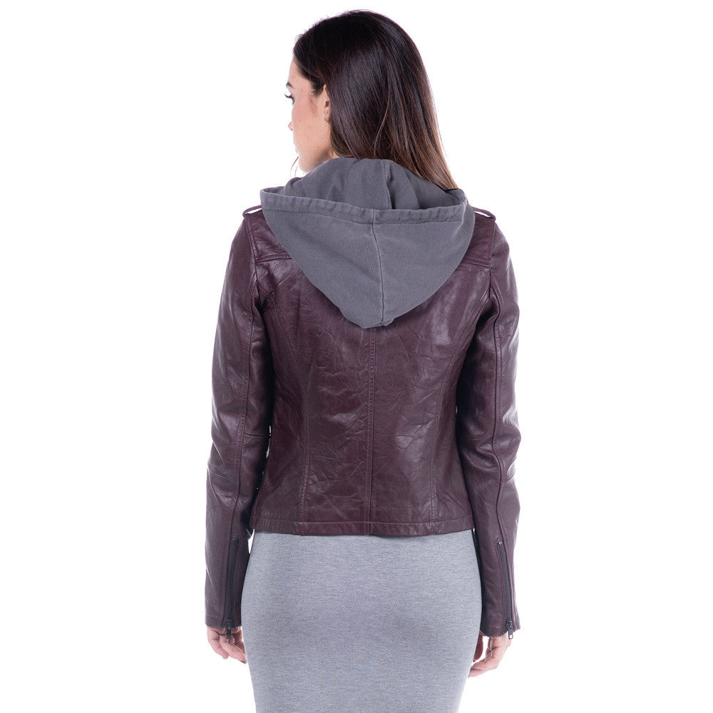 Linea Pelle Hooded Leather Jacket in Washed Crimson
