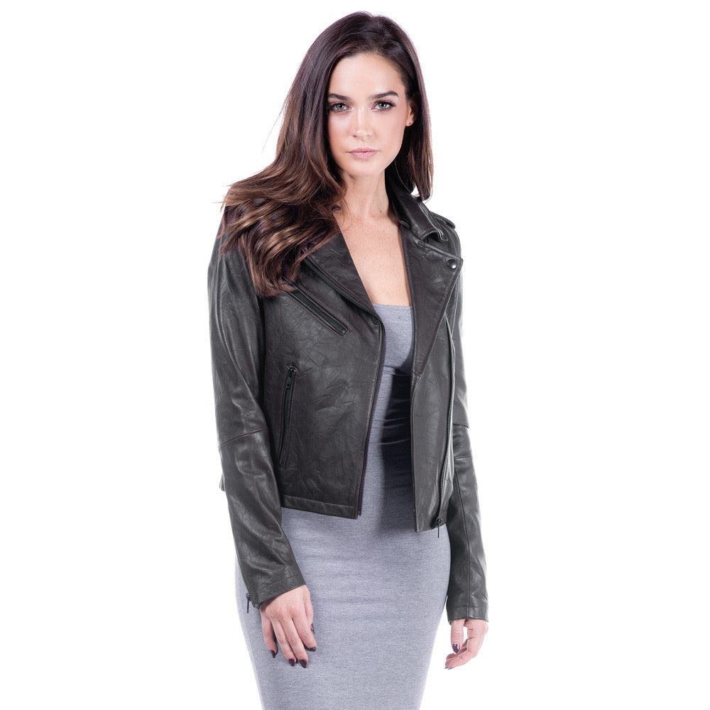 Linea Pelle Hooded Leather Jacket in Washed Olive