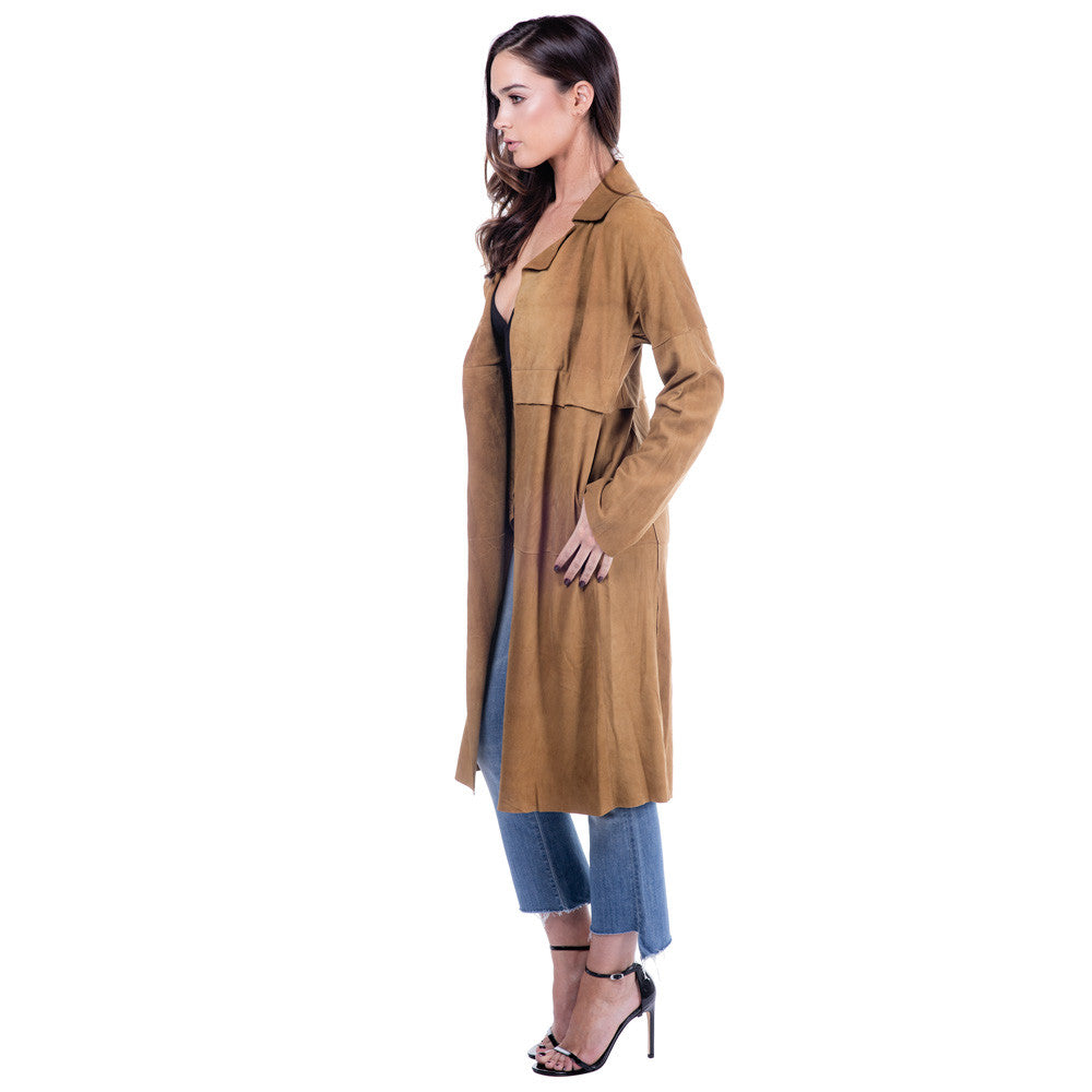 Linea Pelle Classic Suede Trench in Camel