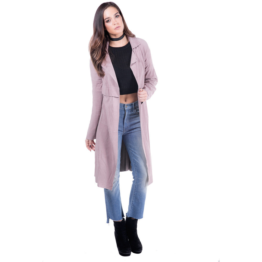 Linea Pelle Classic Suede Trench in Mauve