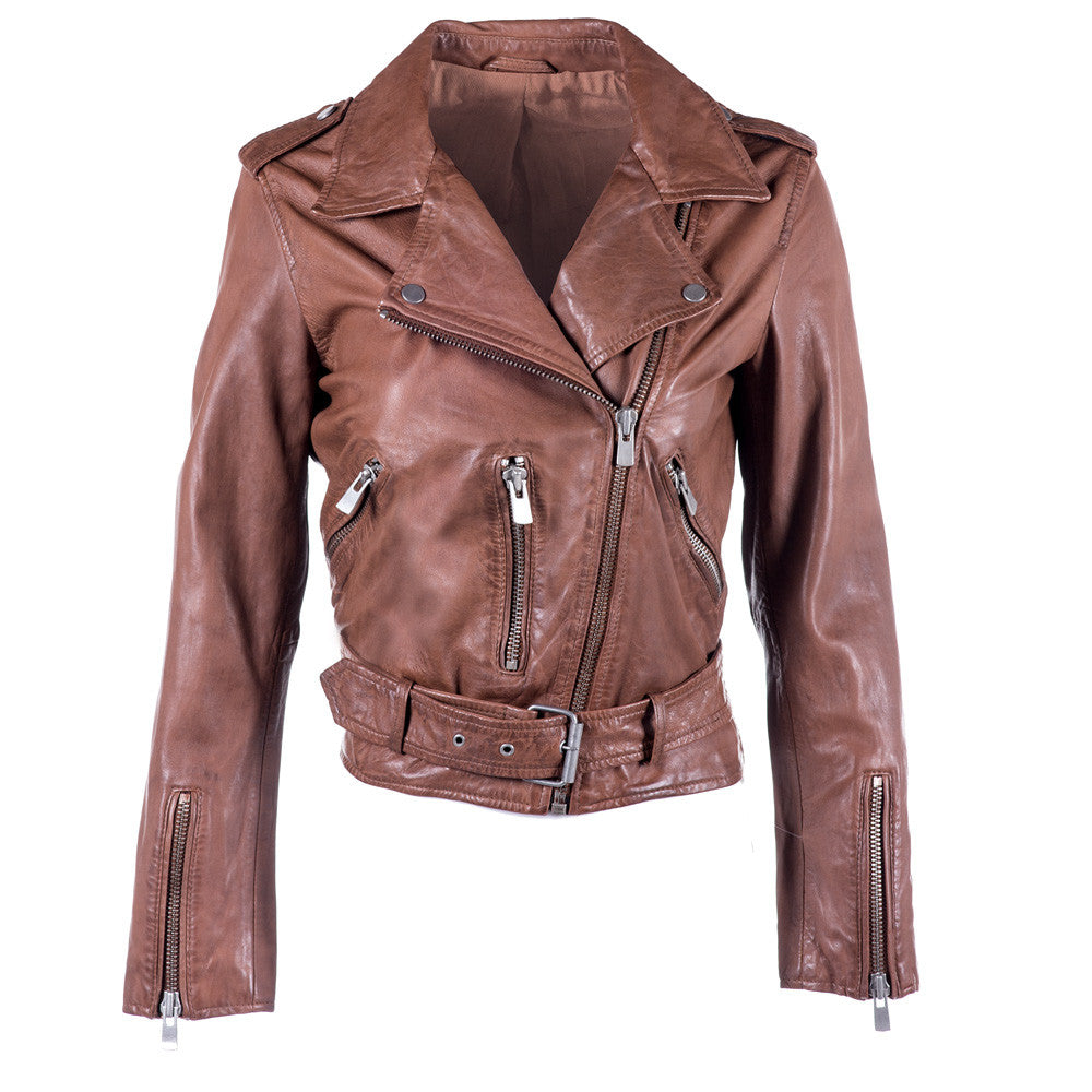 Linea Pelle Washed Crop Moto Leather Jacket in Spice
