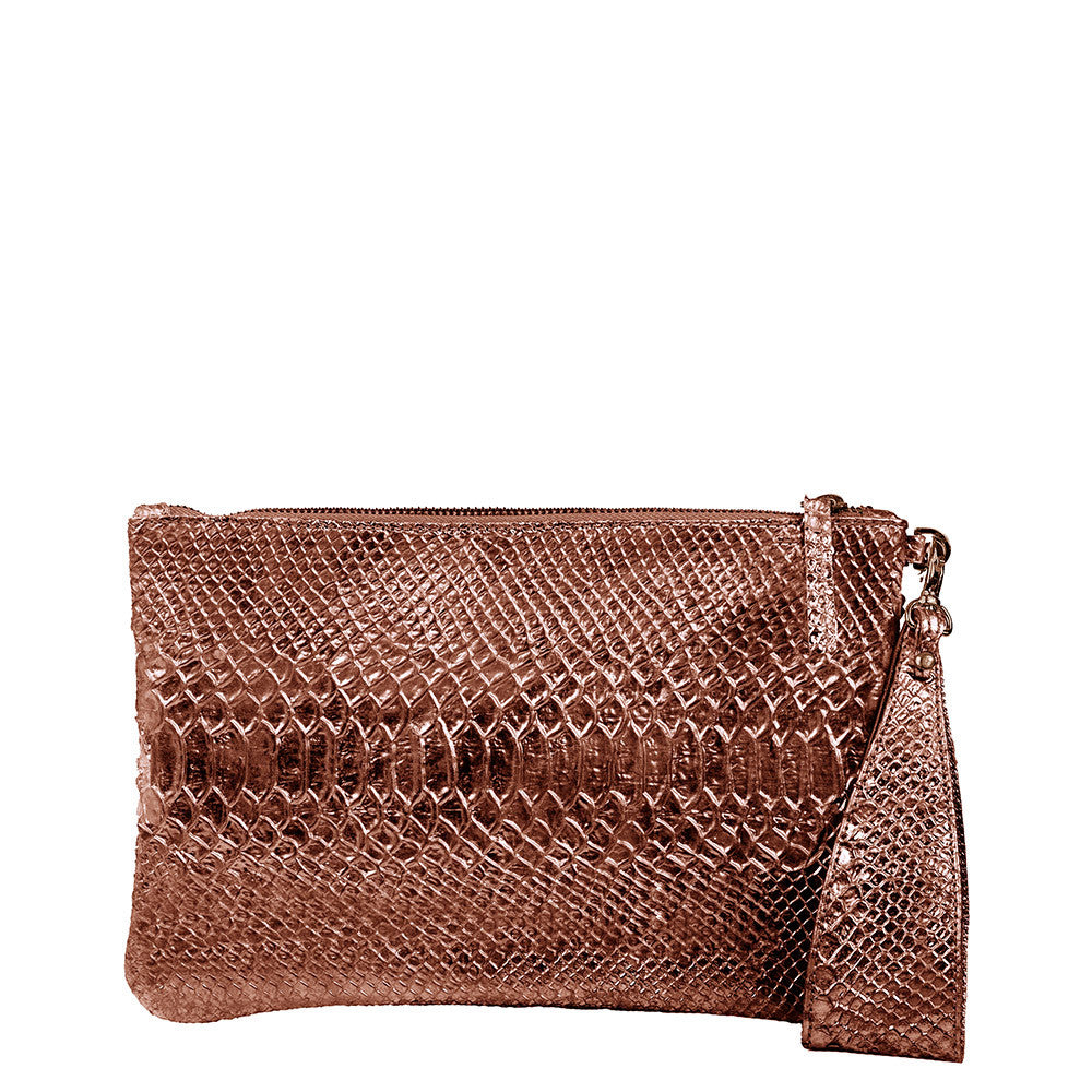 Linea Pelle Metallic Clutch in Bronze