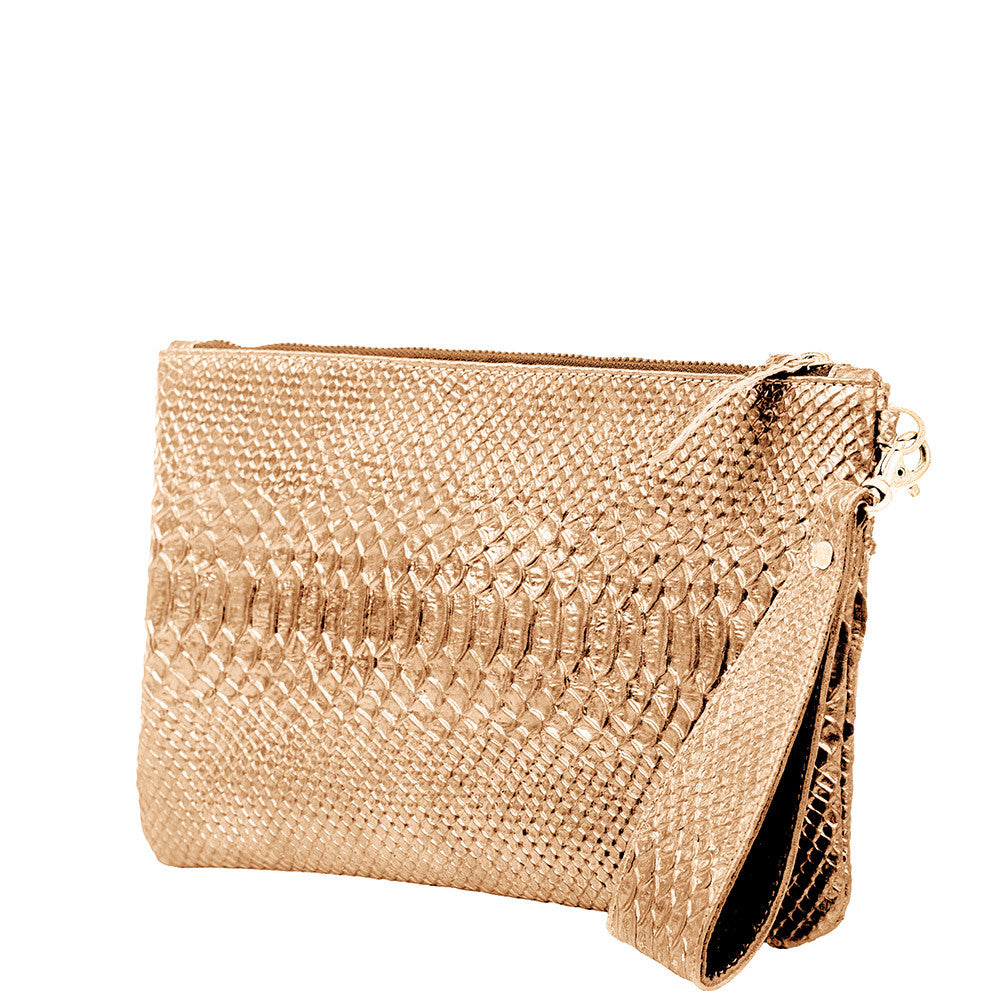 Linea Pelle Metallic Clutch in Gold