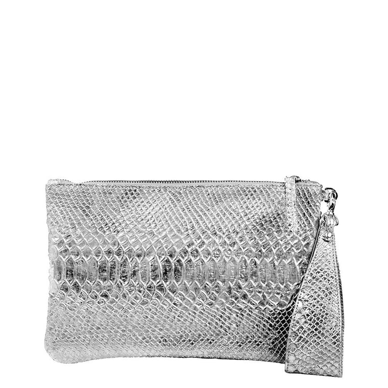 Linea Pelle Metallic Clutch in Silver