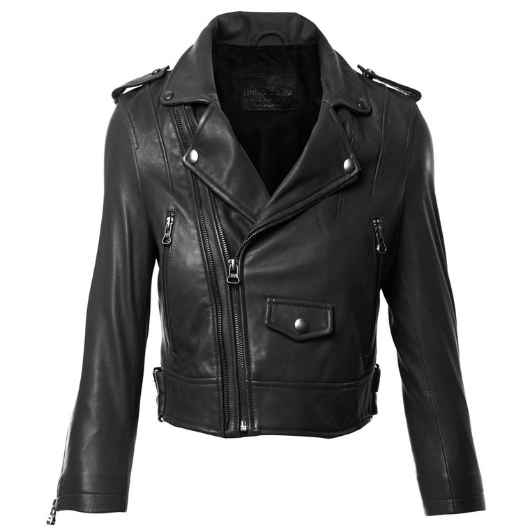 Linea Pelle Moto Crop Jacket in Black