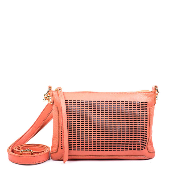 Linea Pelle Preston Crossbody Bag in Coral