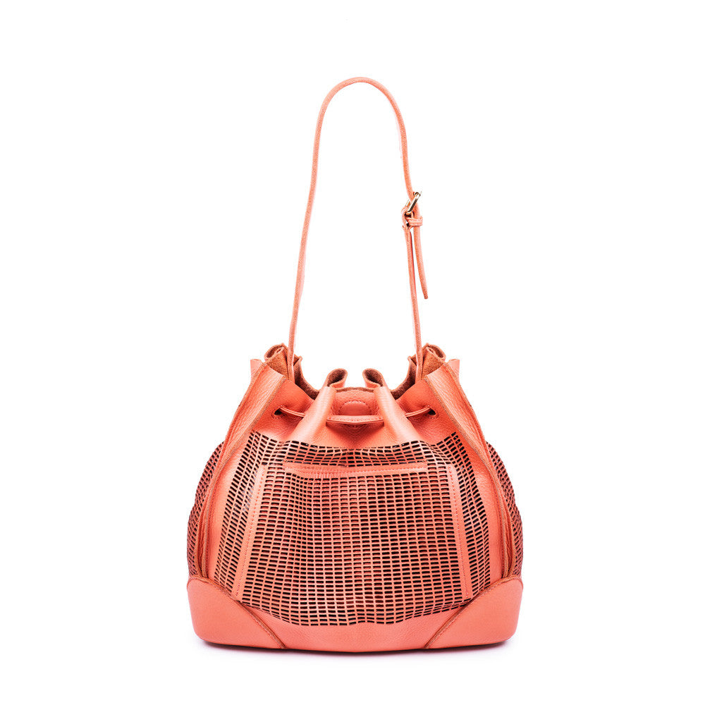 Linea Pelle Preston Bucket Bag in Coral