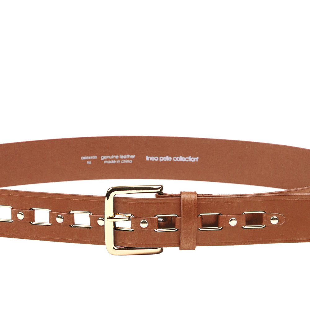 Linea Pelle Rectangular Ring Hip Belt in Cognac