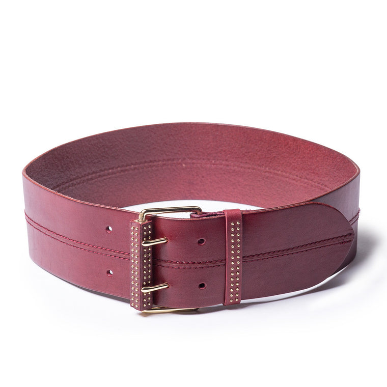 Linea Pelle Micro Stud Wide Belt in Merlot