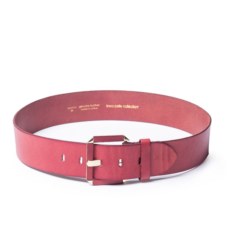 Linea Pelle Hex Buckle Waist Belt in Merlot
