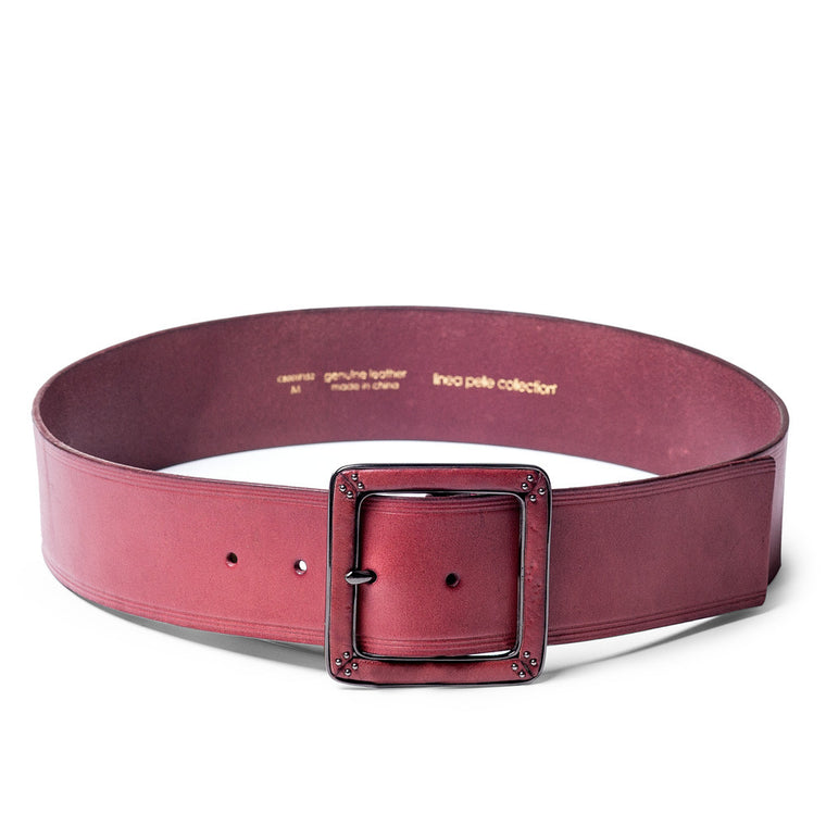 Linea Pelle Square Buckle Waist Belt in Merlot