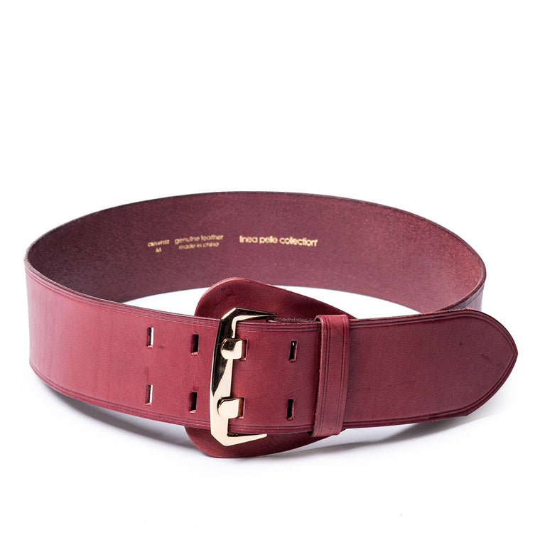Linea Pelle Shield Buckle Waist Belt in Merlot