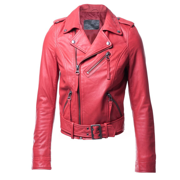 Linea Pelle Moto Leather Jacket in Red