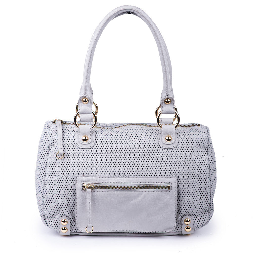 Linea Pelle Lowes Satchel Bag in Light Grey