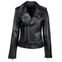 Load image into Gallery viewer, Linea Pelle Embossed Leather Jacket in Black