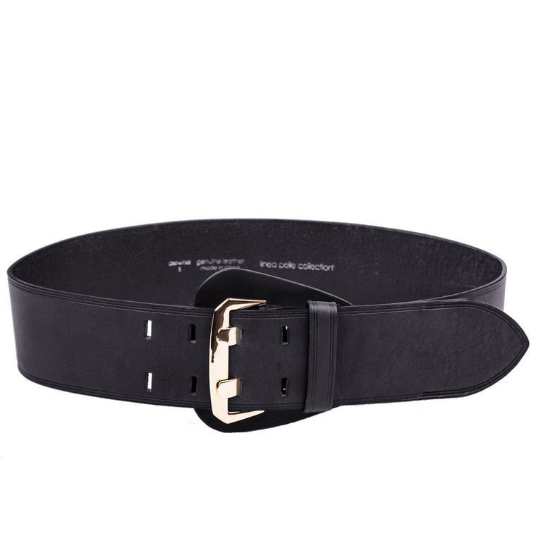 Linea Pelle Shielded Buckle Waist Belt in Black
