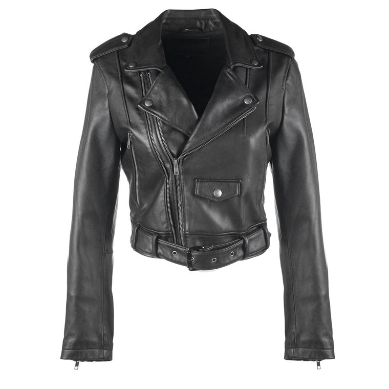 Linea Pelle Moto Crop Leather Jacket in Black