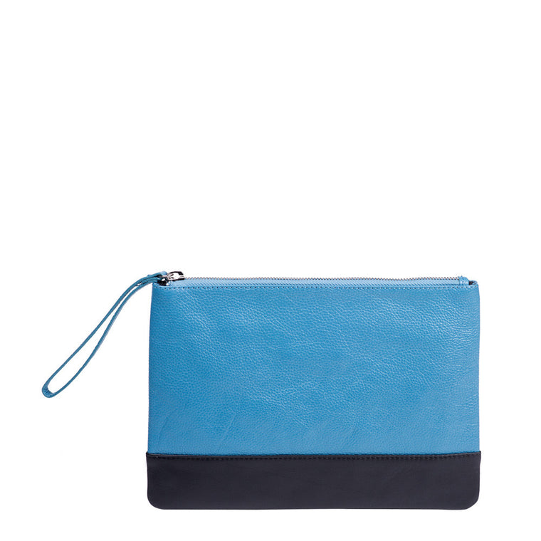 Linea Pelle Leather Color Block Zip Pouch in Blue and Black