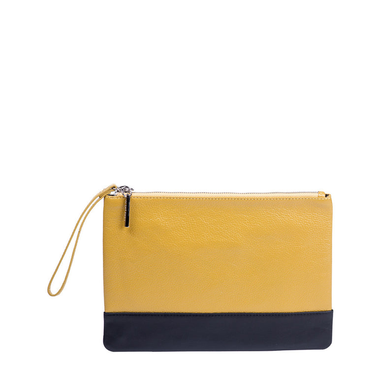 Linea Pelle Color Block Zip Pouch in Yellow