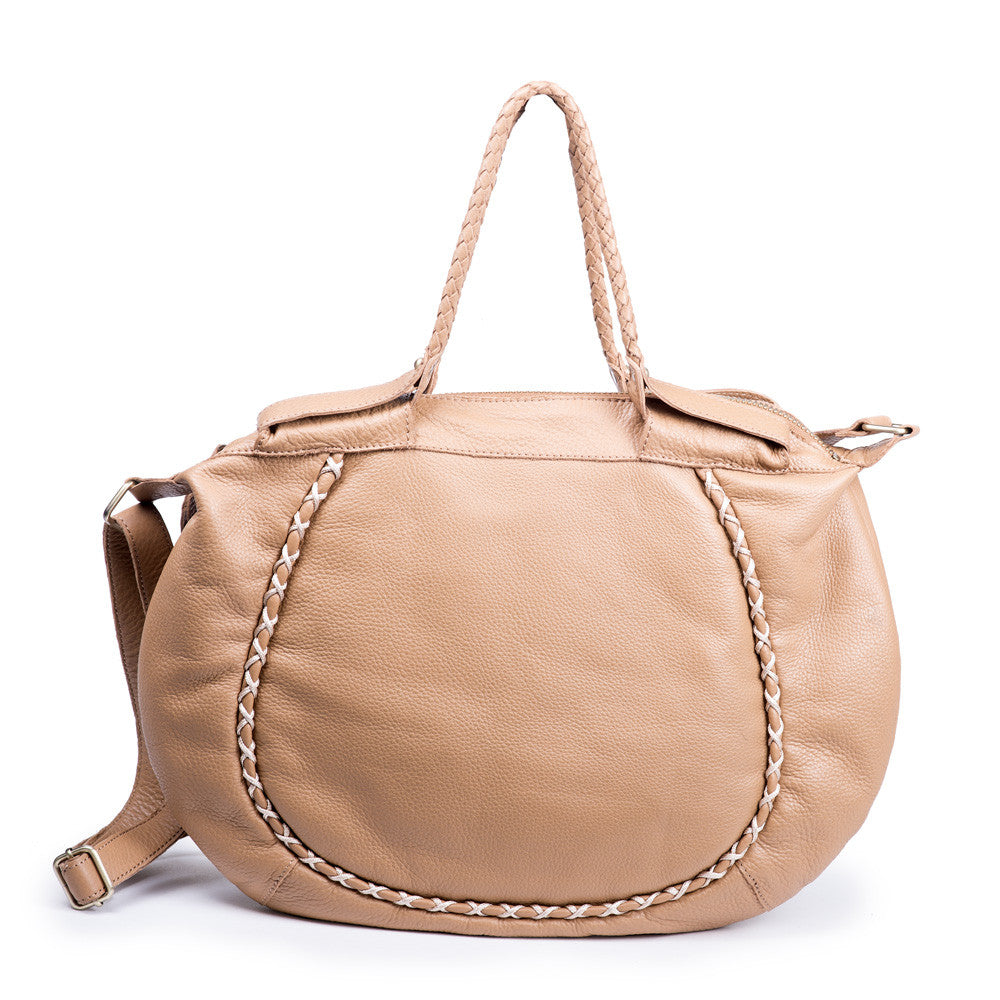 Linea Pelle Large Braided Shoulder Bag in Camel