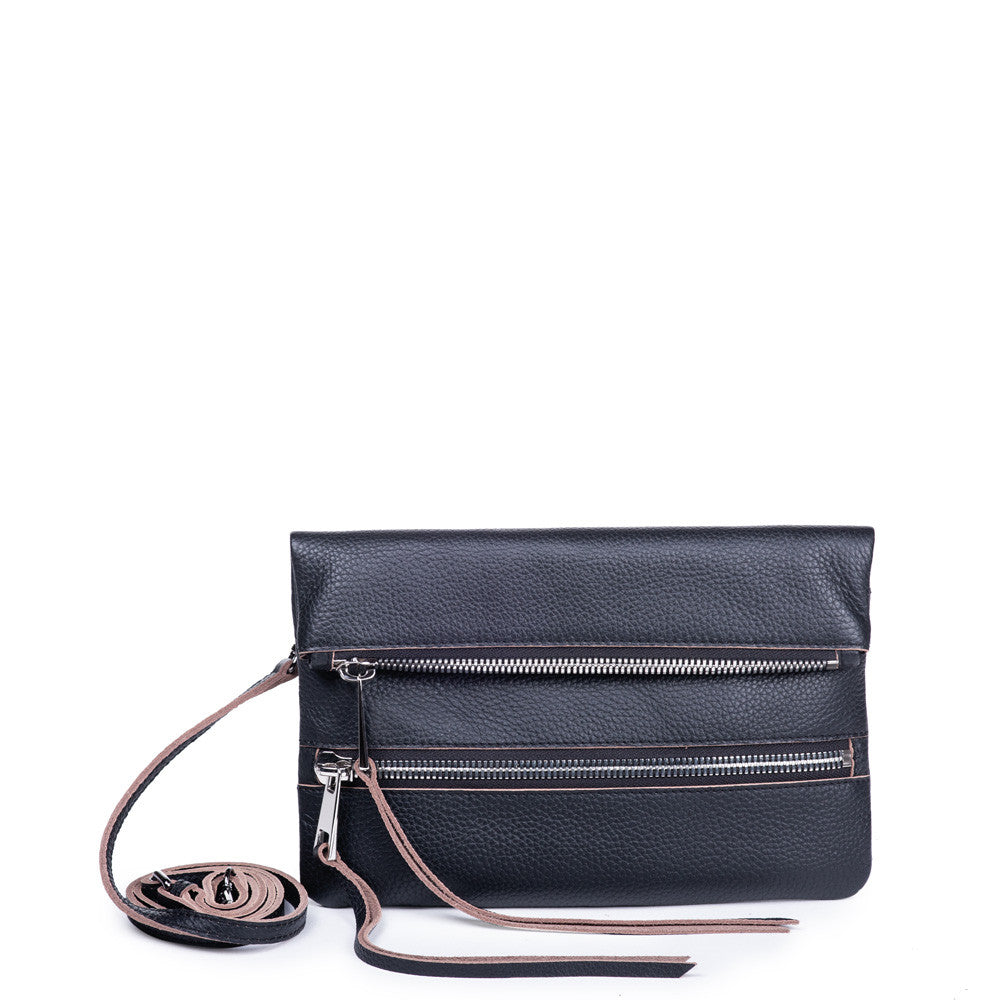 Linea Pelle Fold Over Crossbody Bag in Black