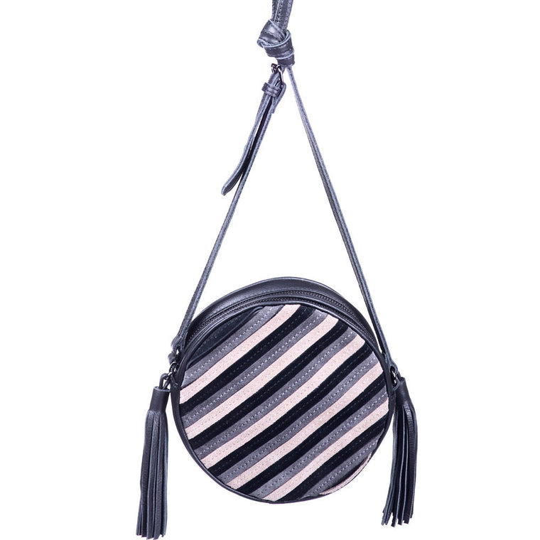 Linea Pelle Suede Canteen Shoulder Bag in Natural and Grey Stripe