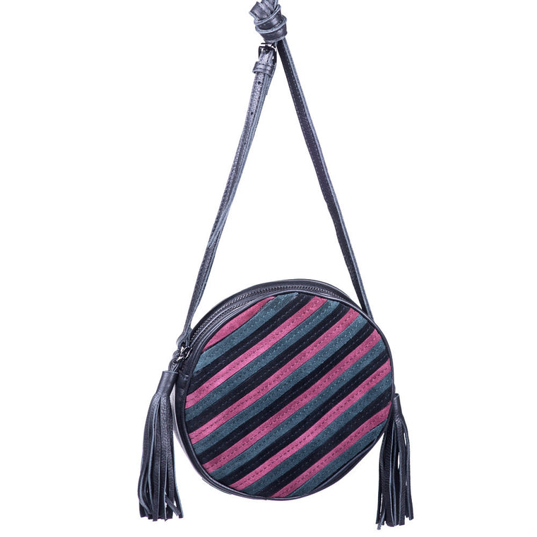 Linea Pelle Suede Canteen Shoulder Bag in Red and Grey Stripe