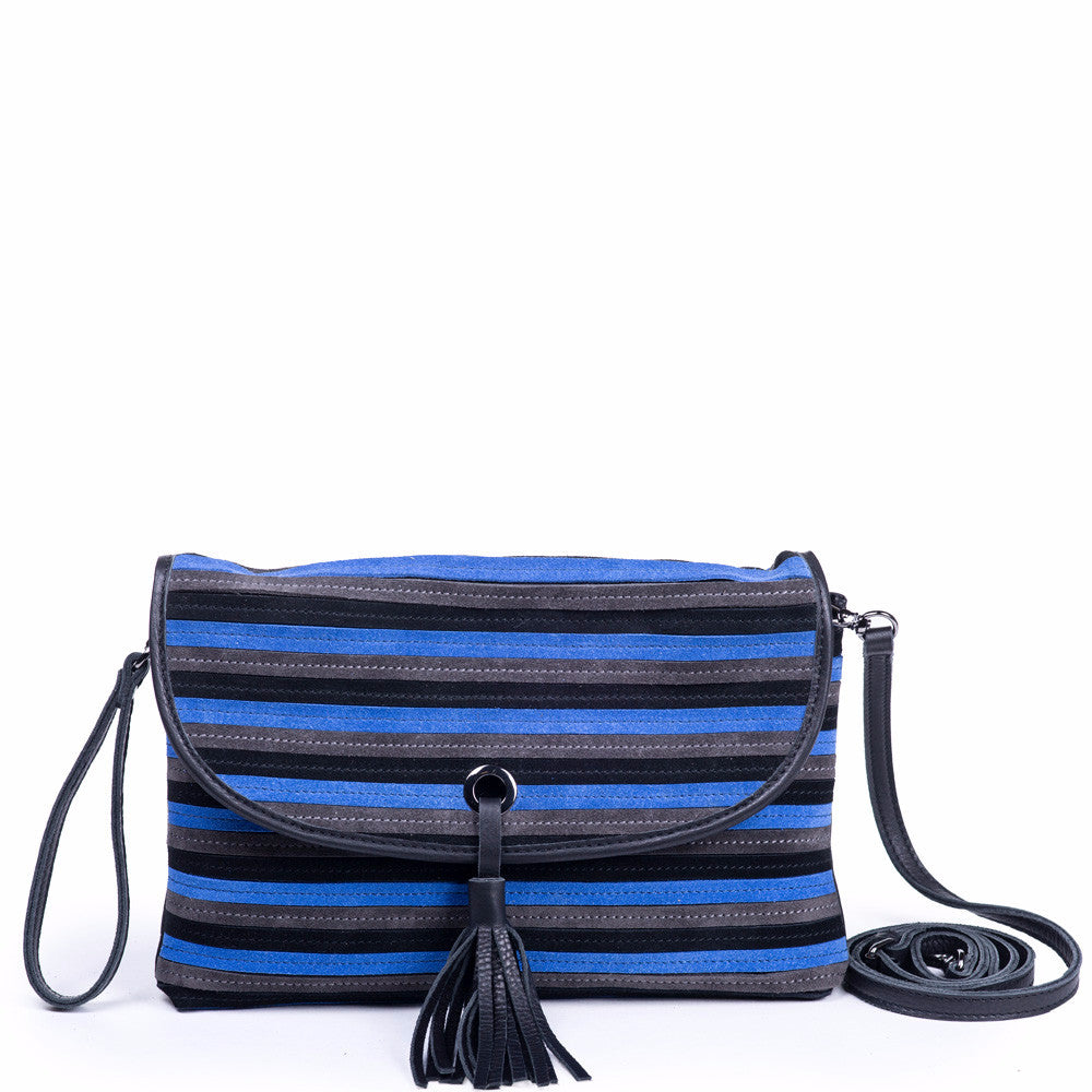 Linea Pelle Suede Crossbody Bag in Black and Grey