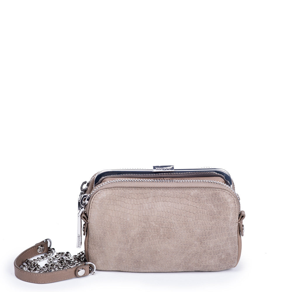 Linea Pelle Suede Combo Crossbody Bag in Taupe