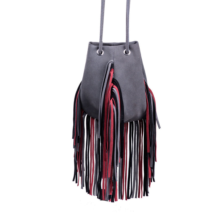 Linea Pelle Suede Mini Pouch in Grey and Red
